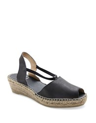 Andre Assous Dainty Fabric Espadrille Wedge Sandals Navy Blue