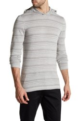 John Varvatos Striped Mixed Knit Hooded Sweater Gray