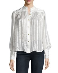 Frame Chloe Metallic Stripe Blouse Blanc Lurex Strip