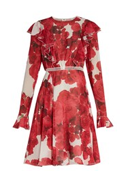 Giambattista Valli Rose Print Ruffled Silk Georgette Dress Red White