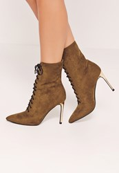 Missguided Gold Heeled Lace Up Ankle Boots Brown Olive