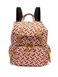 Burberry Tb Print Leather Trimmed Backpack Orange Multi
