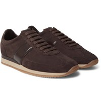 Tom Ford Orford Leather Panelled Suede Sneakers Dark Brown