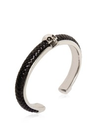 Alexander Mcqueen Woven Leather And Skull Cuff Bracelet