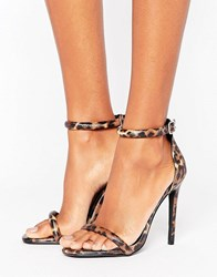 Missguided Leopard Print Barely There Heeled Sandal Leopard Brown