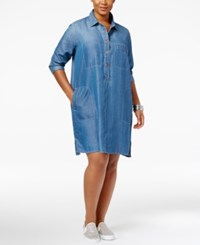 Jessica Simpson Trendy Plus Size Denim Shirtdress Harlow Basic