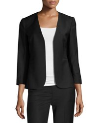 Theory Lindrayia B Continuous Open Front 3 4 Sleeve Blazer Black