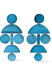 Annie Costello Brown Pompom Oxidized Earrings Blue