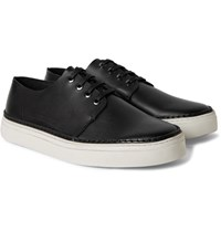 Cos Raw Edged Leather Sneakers Black