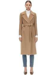 Tagliatore Molly Belted Cashmere And Wool Coat Camel