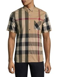 Burberry Thornaby Check Short Sleeve Shirt Camel Navy