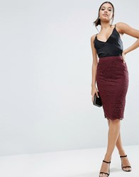 Asos Corded Lace Pencil Skirt Wine Purple