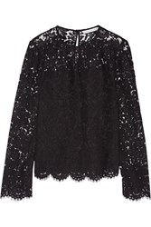 Diane Von Furstenberg Yeva Corded Lace Top Black
