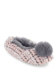 Kensie Faux Fur Pom Slippers Pink