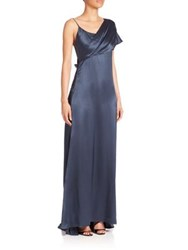 Cushnie Et Ochs Draped Shoulder Silk Charmeuse Gown Lake