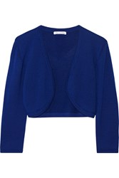 Oscar De La Renta Cropped Cashmere And Silk Blend Cardigan Blue
