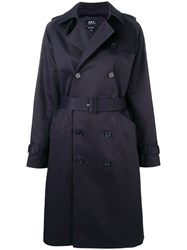 A.P.C. Belted Trench Coat Blue