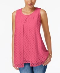 Charter Club Lace Split Front Top Only At Macy's Glamour Pink