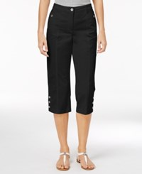Karen Scott Petite Button Hem Twill Capri Pants Only At Macy's Deep Black