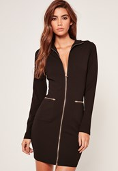 Missguided High Neck Zip Up Bodycon Dress Black Animal