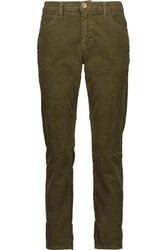 Current Elliott The Fling Cotton Blend Corduroy Skinny Pants Army Green