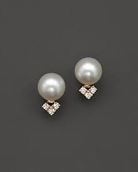 Bloomingdale's Cultured Freshwater Pearl And Diamond Earrings In 14K Yellow Gold White