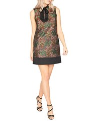 Miss Selfridge Floral Jacquard Sleeveless Shift Dress Copper Multi