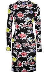 House Of Holland Floral Print Stretch Jersey Mini Dress Black