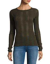 Dkny Sheer Ribbed Crewneck Sweater Military Green