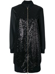 Herno Sequin Embellished Bomber Jacket Black