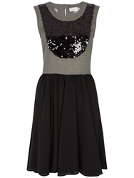 Almari Sequin Contrast Skater Dress Black