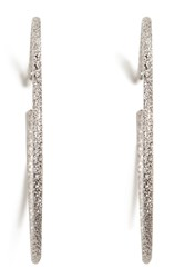 Carolina Bucci 18K White Gold Medium Sparkly Hoop Earrings Silver