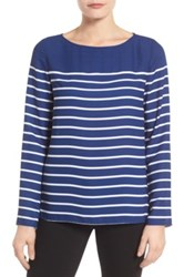 Nydj Stripe Woven Top Blue