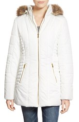 Junior Women's Celebrity Pink Quilted Coat With Faux Fur Trim Snow White