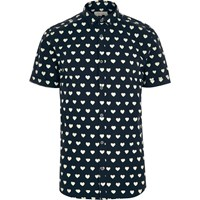 River Island Mens Navy Heart Print Short Sleeve Shirt
