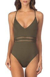 Kenneth Cole Women's Weave Your Own Way One Piece Swimsuit Olive