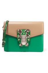 Dolce And Gabbana Lucia Python Trimmed Two Tone Leather Shoulder Bag Green