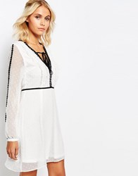 Fashion Union Smock V Neck Dress With Sheer Sleeves And Contrast Trimmings White