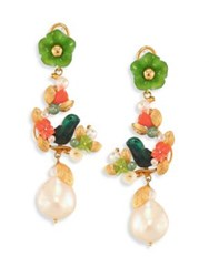 Of Rare Origin Partridge In A Pear Tree Round Freshwater Pearl Jade And Coral Drop Earrings Gold Multi