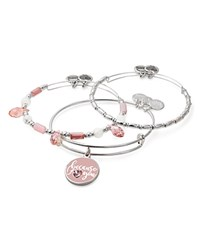 Alex And Ani Because I Love You Charm Beaded Expandable Wire Bangles Set Of 3 Silver