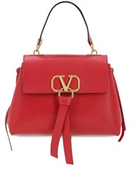 Valentino Garavani Small V Ring Leather Top Handle Bag Rouge Pure
