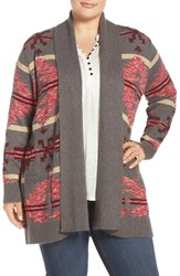 Lucky Brand Plus Size Women's Intarsia Cotton Blend Sweater Coat