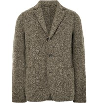 Aspesi Grey Slim Fit Unstructured Boiled Wool Blend Blazer Gray