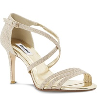 Dune Highlife Lurex Strappy Heeled Sandals Champagne Fabric