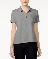 Tommy Hilfiger Zip Up Polo Top Only At Macy's Grey