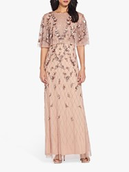 Adrianna Papell Bead Cape Dress Rose Gold