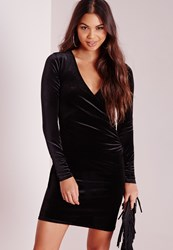 Missguided Tall Exclusive Wrap Over Bodycon Dress Black