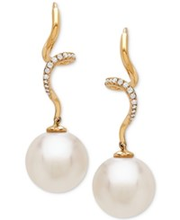 Honora Style Cultured White Ming Pearl 12Mm And Diamond 1 10 Ct. T.W. Twist Drop Earrings In 14K Gold