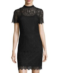 Kensie Short Sleeve Mock Neck Lace Minidress Black