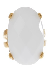 Rivka Friedman 18K Gold Clad Faceted Oval White Agate Satin Ring